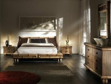 Bortoli Komplet sypialniany z bambusa TSU z wezgłowiem Surya (Łóżko 180, szafka