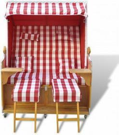 Fotel plażowy, czerwono-biały, dwuosobowy