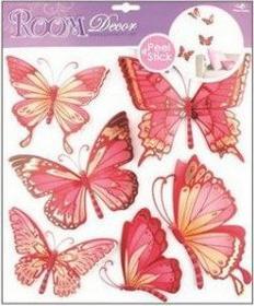 Czerwone motylki - winylowa Naklejka na ścianę