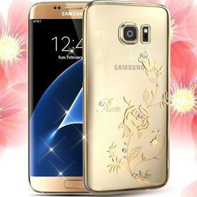 Swarovski Kingxbar KINGXBAR Etui Deluxe Flower Hard Samsung Galaxy S7 Edge - Rose