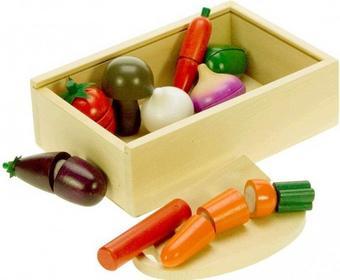 Warzywa do krojenia na rzepy - zestaw w drewnianym pudełku