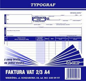 Typograf Faktura VAT z ceną brutto na jedną stawkę podatku 2/3 A4