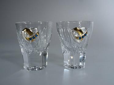 Crystaljulia Kieliszki do wódki na stół weselny-4566-1 kpl ( 2 szt )-0,45 g