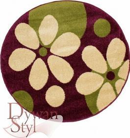 DywanStyl.pl Dywan Trendy flowers fioletowy/zielony 200x200 Okrągły