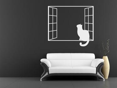 Naklej-to.pl Kot w oknie Seria domowe kot03