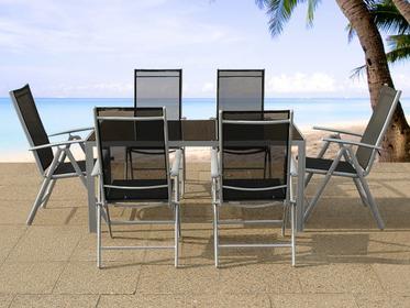 Beliani Aluminiowe meble ogrodowe dla 6 osób CATANIA szary