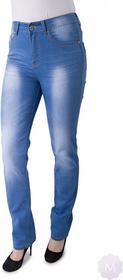 Vavell Spodnie jeansy niebieski wytarte z prostą nogawką wysoki stan