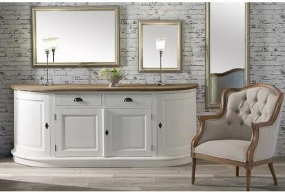 Dekoria Komoda Brighton 4 drzwi + 2 szuflady white&natural, 210x50x86cm