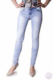 Miss One Damskie spodnie wyższe biodrówki rurki jeansowe wycierane (Y231)