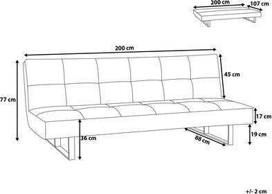 Beliani Sofa z funkcją spania jasnoniebieska - kanapa rozkładana - wersalka - DERBY błękitny