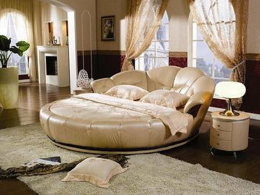 Okrągłe łóżko do sypialni + materac + 2 szafki, Cleopatra