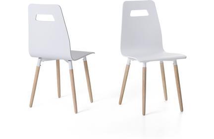 Beliani Krzeslo biale - do jadalni - do kuchni - drewniane - BOVIO bialy