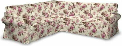 Dekoria Pokrowiec na sofę Ektorp narożną Mirella różowo-beżowe róże na kremowym