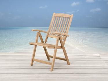 Beliani Drewniane krzeslo ogrodowe - regulowane oparcie - RIVIERA brazowy