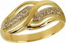 Tyfanit Delikatny pierścionek złoty z cyrkoniami ZR235