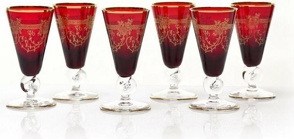 Bohemia Czerwone kieliszki do likieru - ręcznie wykonane Kvetna