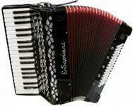 E.Soprani 809 K 37/3/7 80/5/4 akordeon (czarny, czerwony miech)