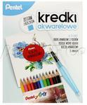 PENTEL Zestaw Kredki akwarelowe 12kol. + pędzelek + bloczek akwarelowy PN6376