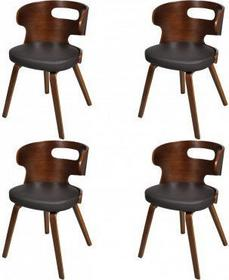 Krzesła jadalniane, drewniana rama, Brąz, nietypowe z wycięciem (x4)