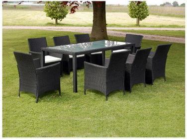 Meble ogrodowe rattanowe czarne stół + 8 krzeseł