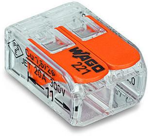 WAGO złączka instalacyjna do wszystkich rodzajów przewodów, 2-przewodowa - 221-4