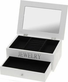 Drewniana Szkatułka na biżuterię JEWELRY - biały 4.3, 7B6