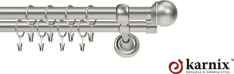 Karnix Karnisz Metalowy Rzymski podwójny 16/16mm Gałka Max chrom mat