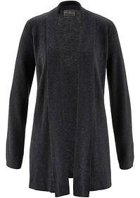 Bonprix Sweter bez zapięcia z kaszmirem i aplikacją 925066_59161 antracytowy melanż