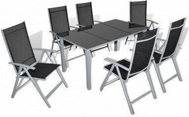 Meble ogrodowe, aluminium, stół i 6 krzeseł