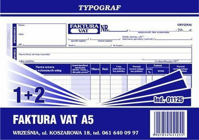 Typograf Faktura VAT (1+2) oryginał + 2 kopie A5