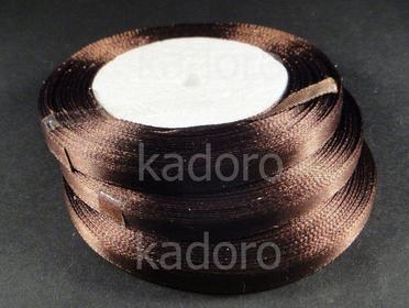 Wstążka atłasowa 6 mm brązowa - rolka