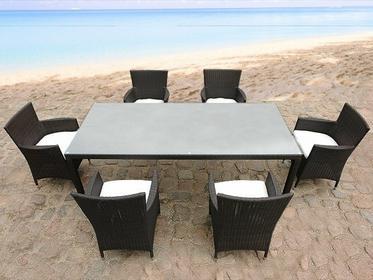 Beliani patio Meble ogrodowe rattan ogród weranda 6 krzesel 160cm ITALY brazowy