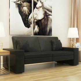 vidaXL Rozkładana kanapa z dużym oparciem, czarna