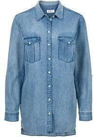 Bonprix Długa koszula dżinsowa, długi rękaw 905174_54583 niebieski