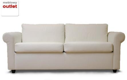 Klasyk Sofa rozkładana - skóra biała