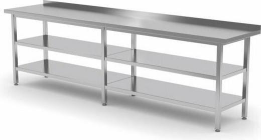 Polgast Stół przyścienny z dwiema półkami 2000x600x850 (h) 103206/2-6