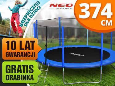 Neo-sport Trampolina ogrodowa 12ft/374cm z siatką zewnętrzną i drabinką  NS-12Z161