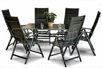 Furnide Zestaw mebli ogrodowych aluminiowych 6 krzeseł + stół