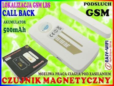 ALARM GSM PLUSKWA Podsłuch CZUJNIK MAGNETYCZNY KONTAKTRON NA DRZWI OKNO Easy_ID: