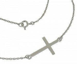 Tyfanit Łańcuszek srebrny z krzyżykiem 1,5mm K5k K5k/1,5