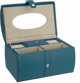 Skórzana szkatułka, Kuferek na biżuterię - owalna - niebieski 6A5