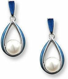 Nicole Barr (UK) Srebrne kolczyki z emalią i perłami, srebro 925
