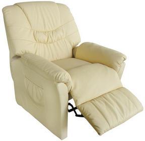 vidaXL Fotel wypoczynkowy z funkcją masażu. Podgrzewany, kremowy