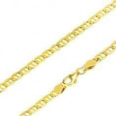 Biżuteria e-shop Złoty łańcuszek 585 - wyrównane elipsowe ogniwa przedzielone pałeczką, 595 mm