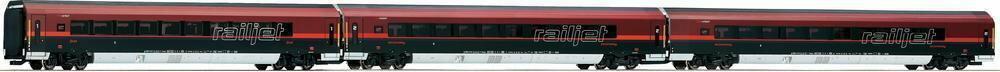 Roco Wagon osobowy 63127 Railjet z OBB z oświetleniem 3 szt. skala H0