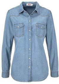 Bonprix Koszula dżinsowa, długi rękaw jasnoniebieski bleached 913517