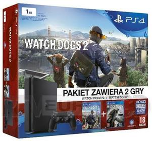 Sony PlayStation 4 Slim 1TB Czarny + Watch Dogs + Watch Dogs 2