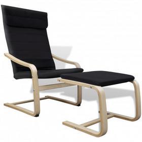 Czarny regulowany Fotel bujany z podnóżkiem