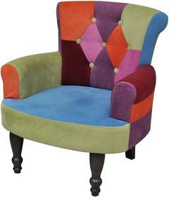 vidaXL Patchworkowy fotel w stylu francuskim, z oparciem i podłokietnikami
