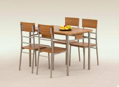 Halmar Stół z krzesłami NATAN + 4 krzesła (Orzech)